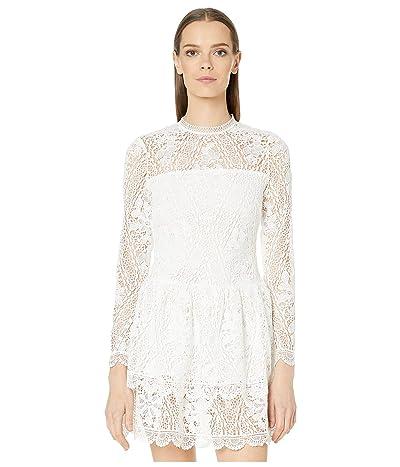 ML Monique Lhuillier Long Sleeve Dress with Scalloped Hem Detail (White) Women