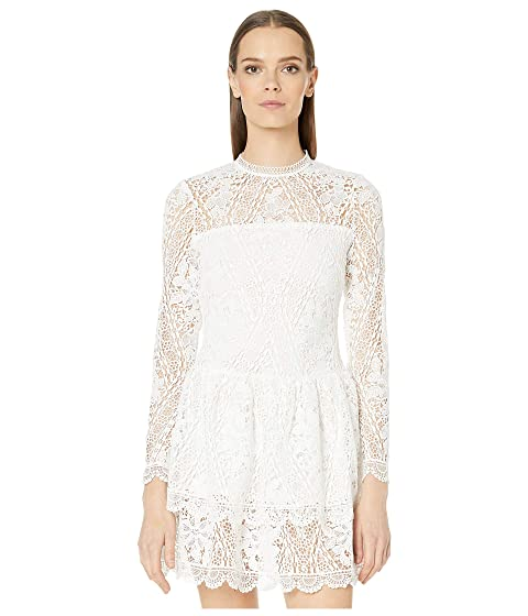 ML Monique Lhuillier Long Sleeve Dress with Scalloped Hem Detail