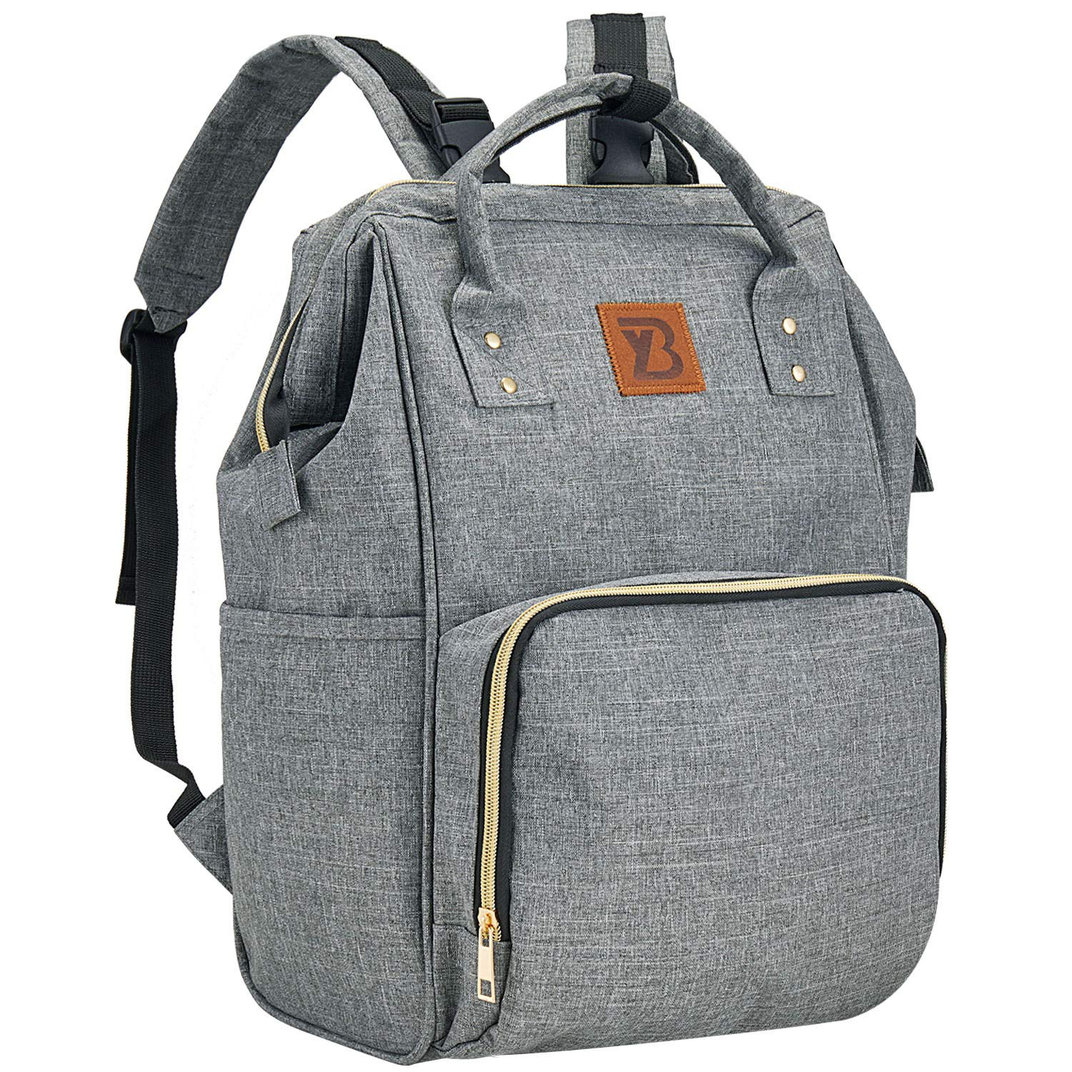 Diaper Bag Backpack, Travel Baby Nappy Changing Bags with Stroller Straps, Large Capacity, Waterproof, Stylish and Multi-Function Maternity Back Pack for Mom and Dad Gray
