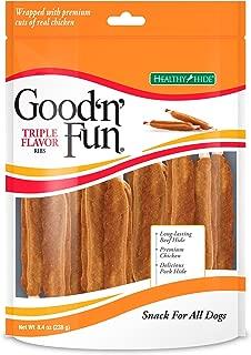 Good'N'Fun Triple Flavored Rawhide Ribs For Dogs, 8.4 Oz