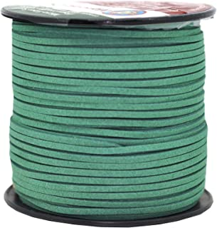 Mandala Crafts 100 Yards 2.65mm Wide Jewelry Making Flat Micro Fiber Lace Faux Suede Leather Cord (Hunter Green)
