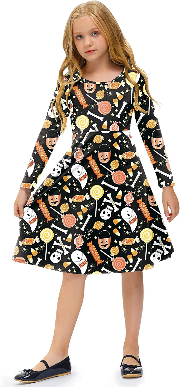 BesserBay Girl's Halloween Print Pumpkin Swing Midi Dress 3-12 Years