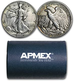 1916-1947 90% Silver Walking Liberty Halves $10 20-Coin Roll XF Silver Extremely Fine
