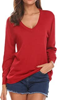 Women's Loose V-Neck Pullover Sweatershirt Long Sleeve Knitted Tops
