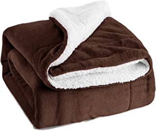 BEDSURE Sherpa Fleece Blanket Throw Size Brown Plush Throw Blanket Fuzzy Soft Blanket Microfiber