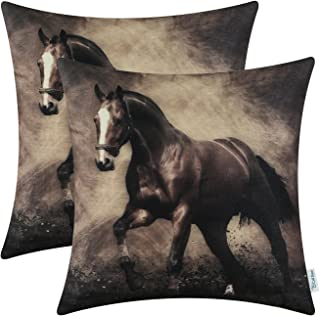 CaliTime Pack of 2 Soft Canvas Throw Pillow Covers Cases for Couch Sofa Home Decoration Vivid Wild Horses Print 18 X 18 Inches Brown Horse