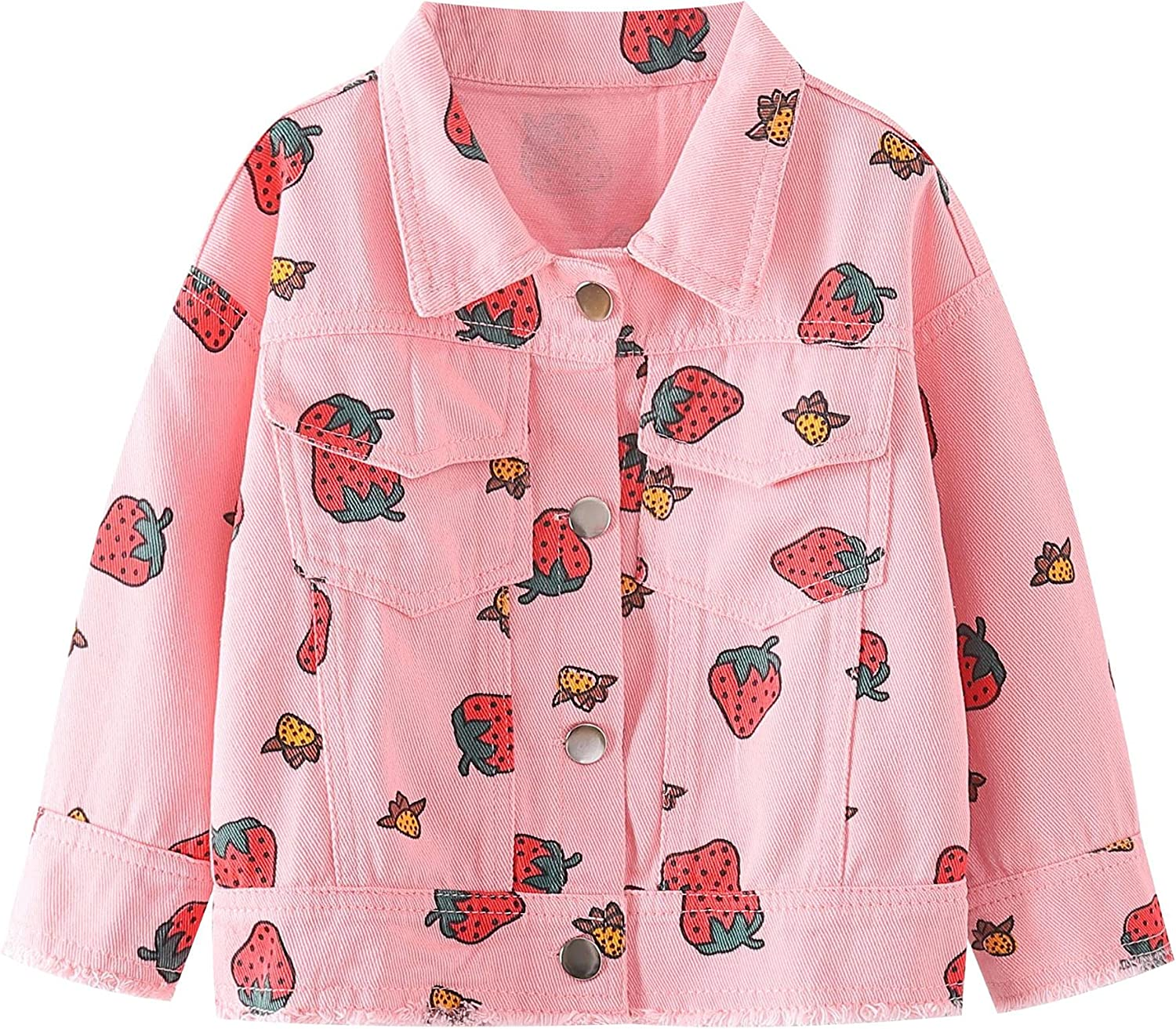 Strawberry Spring new work one after another Denim Jacket for Girls,Toddler Jea Spring Kids Super sale period limited
