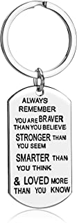 lauhonmin Key Chain Ring You Are Braver Stronger Smarter Than You Think Pendant Family Friend Gift