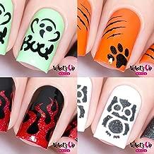 Halloween Nail Vinyl Stencils 4 pack (Boo!, Kitty Scratch, Fire, Owl) for Nail Art Design