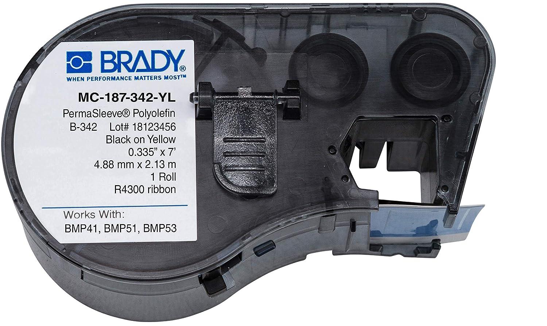 Brady MC-187-342-YL Polyolefin B-342 Black on Yellow Label Maker