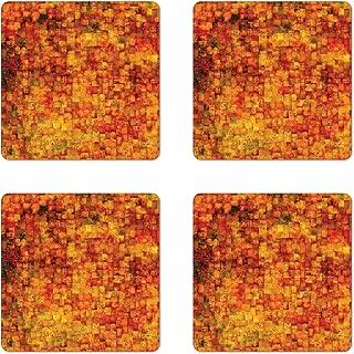 Ambesonne Burnt Orange Coaster Set of 4, Vintage Mosaic Background Quadratic Little Geometric Squares Faded Print, Square Hardboard Gloss Coasters for Drinks, Standard Size, Orange Mustard