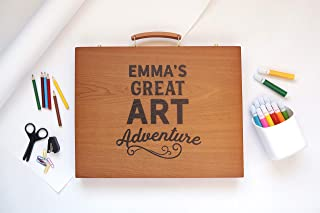 Personalized Wooden Case Art Supplies for Kids 150-Piece - Arts and Craft Gift Set for Kids Artists, Art Kit in Wooden Box (Emma Design Box)