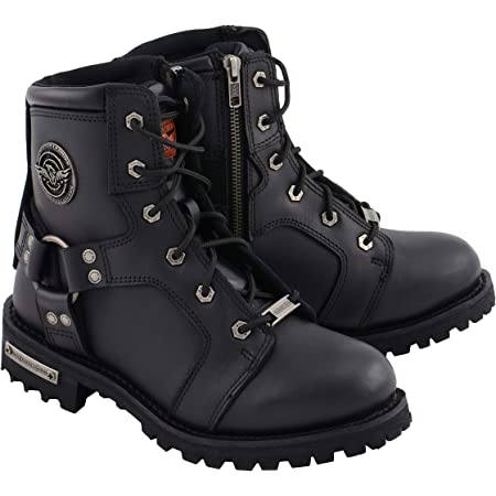 Milwaukee Leather MBL9325 Womens Black Lace-Up Leather Boots with Side Zipper 6.5