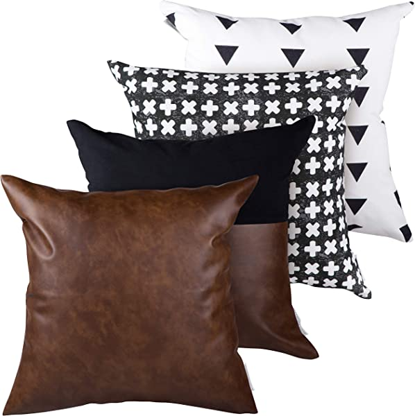 RuffledThread Linen Faux Leather Throw Pillow Covers Set Of 4 18x18 Inches Decorative Couch Pillow Cases For Modern D Cor With Geo Prints