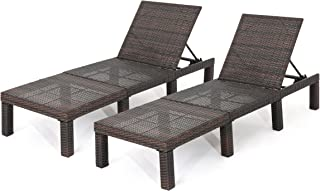 Christopher Knight Home 303855 Joyce Outdoor Multibrown Wicker Chaise Lounge Without Cushion (Set of 2)