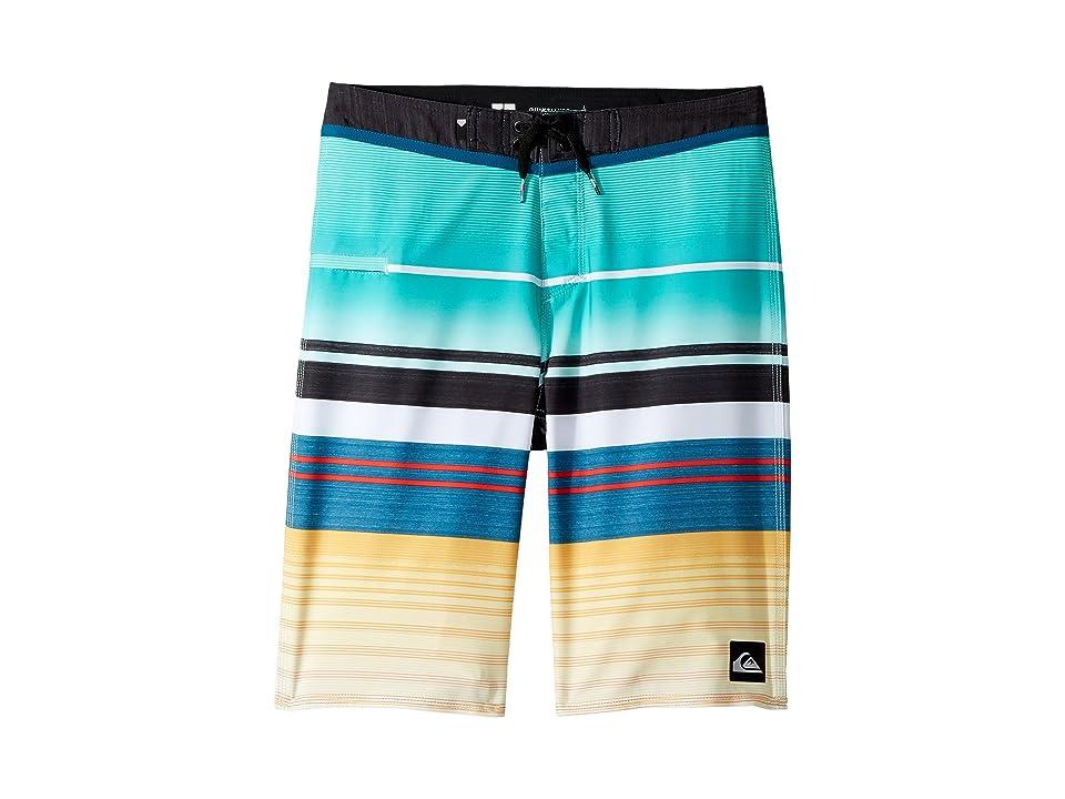 Quiksilver Kids Everyday Stripe Vee Boardshorts (Big Kids) (Pool Blue) Boy