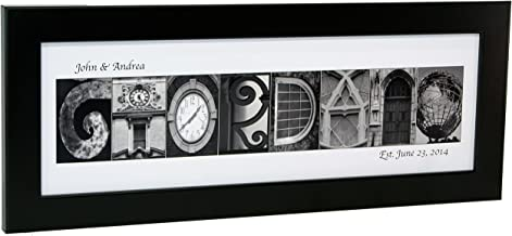 Creative Letter Art Personalized Name in Black and White Architecture from Original Alphabet Photograph Letters for Personalized Gift, Anniversary, Baby Name (Black Frame)