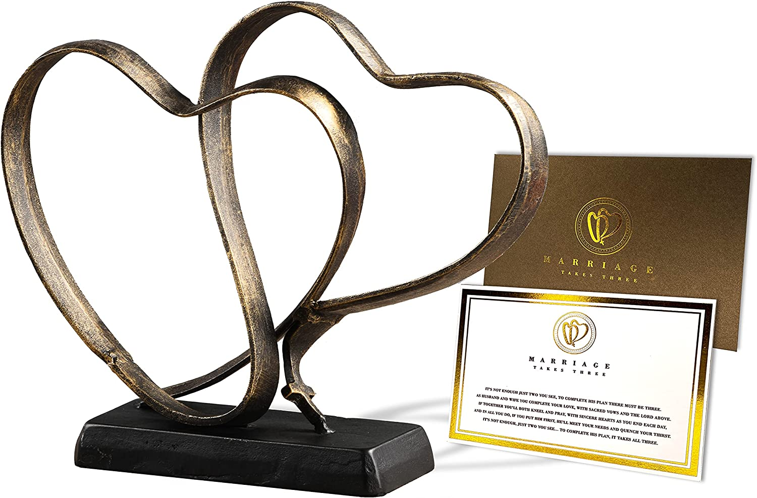 Wedding Anniversary Couples Gift - Two Hearts and Cross Iron Sculpture, Marriage Takes Three Christian Decor, 10.8 x 9.5 Inches, Includes Poem Card