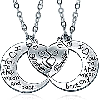 YOUFENG Mom Necklace Gift for Mother Love Heart Crystal Birthstone Necklaces Mother's Day Jewelry Platinum Plated