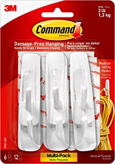 Command Utility Hooks Value Pack, Medium, White, 6-Hooks (17001-6ES)