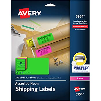 """Avery 2""""x 4"""" Neon Shipping Labels with Sure Feed for Laser Printers, Assorted Colors, 250 Neon Labels (5954)"""