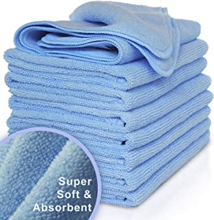 "VibraWipe Microfiber Cleaning Cloth 8-Pack, Large Size 14.2""x14.2"", Trap Dust,.."