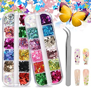 CCINEE 2 Cases 3D Butterfly Nail Art Glitter Sequins with 24 Assorted Colors Nail Art Sequins Foil Flake Acrylic Glitters ...