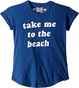 Slub Rolled Short Sleeve Take Me To The Beach Tee (Big Kids)