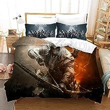 bed linings Juego de Cama 3D Assassins Creed Impresión Niño De Cama para Adultos Set 100% Poliéster Regalo Funda Nórdica 3 Piezas con 2 Fundas De Almohada R-US King102*90