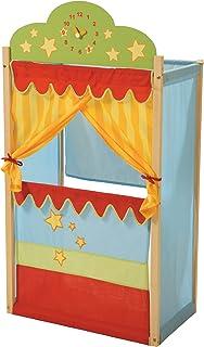roba Théâtre, théâtre de marionnettes avec horloge, bois massif et revêtement en tissu.