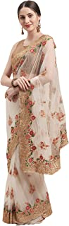 Womanista net with Blouse Piece Saree (TI1219_ Off White_ Onesize)