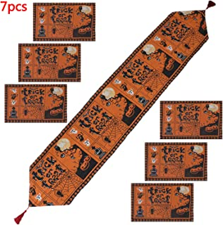 LOCOLO Halloween Table Runner with Tassels and 6 Place Mats, Washable Tablecloth Set for Halloween Party, Dinner Parties and Home Decorations