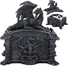 Ebros Gift Celtic Knotwork Grave Tomb Mythical Roaring Fire Dragon Decorative Trinket Jewelry Box Figurine 6.25