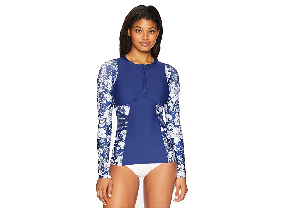 Next by Athena Zen Garden Detox Long Sleeve Surf Shirt (Navy) Women