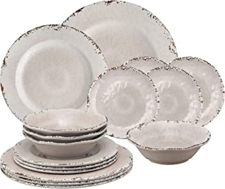 Gourmet Art 16-Piece Crackle Melamine Dinnerware Set, Cream, Service for 4. Includes Dinner Plates, Salad Plates, Dessert Plates and Bowls.