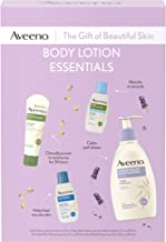 Aveeno Body Lotion Essentials Skincare Gift Set for Women with Stress Relief Calming Lotion, Daily Moisturizing Lotion, Skin Relief Lotion, and Sheer Hydration Body Lotion, 4 items