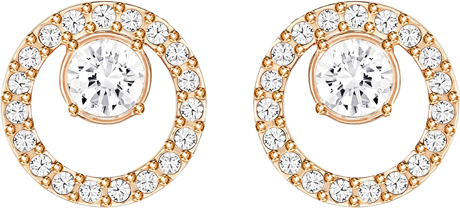 Swarovski Creativity Women's Small Circle Pierced Stud Earrings with White Crystals on a Rose-Gold Tone Plated Post and Secure Back Closure : Clothing, Shoes & Jewelry