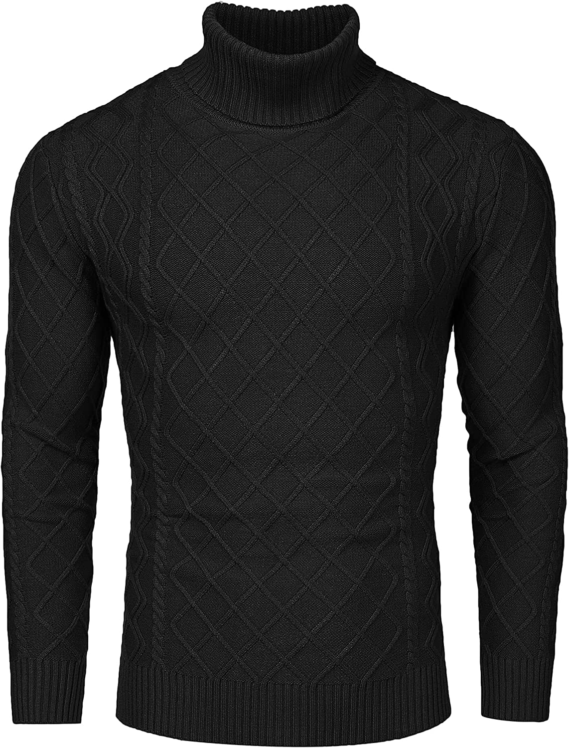 COOFANDY Men's Slim Fit Turtleneck Cotton Twisted Max 63% OFF Sweater Casual Detroit Mall