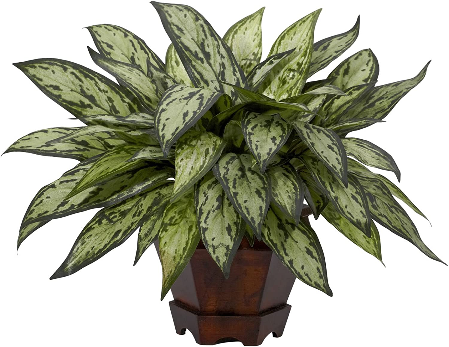 Nearly Natural 6696 Triple Silver Queen with Hexagon Vase Decorative Silk Plant, Green