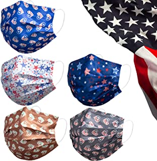 Disposable Face Mask with Love Heart Lace Flower USA Flag Leopard Design,50 Pack