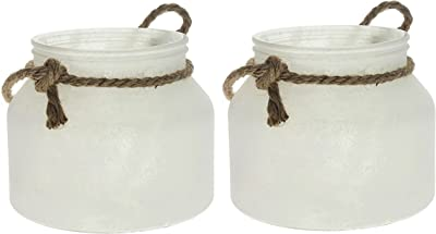 """Set of 2 Kraft Club 6"""" x 5"""" Frosted Glass Jars with Just Rope Handle"""