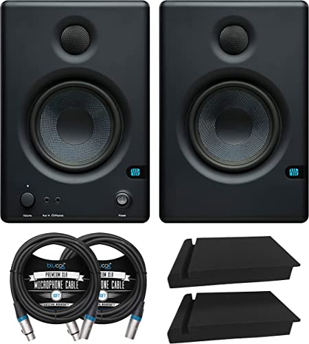 """PreSonus Eris E4.5 2-Way 4.5"""" Near Field Studio Monitor for Computers, Media Players, Mixers (Pair) Bundle with Blucoil 2X Acoustic Isolation Pads, and 2X 10' Straight Instrument Cables (1/4"""")"""