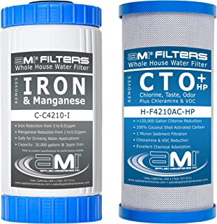 """APPLIED MEMBRANES INC. Whole House Water Filter Replacement Filter Cartridge Set for Iron Reduction 