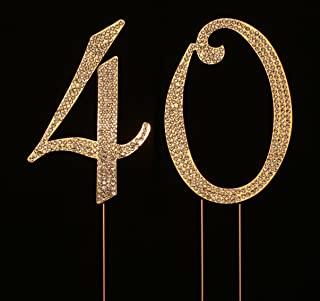 Numbrer 40 for 40th Birthday or Anniversary Cake Topper Party Decoration Supplies, Gold, 4.5 Inches Tall