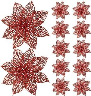 Turelfies 12 Pcs 5.9''(15cm) Christmas Tree Flowers with 12 Pcs Green Soft Stings Glitter Poinsettia Artificial Flowers De...