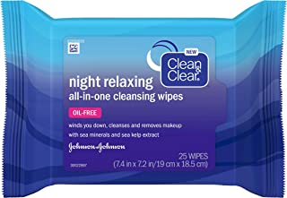Clean & Clear Night Relaxing All-In-One Facial Cleansing & Makeup Remover Wipes with Deep Sea Minerals & Sea Kelp Extract ...