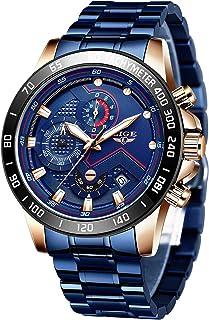 LIGE Montre Homme Sport Militaire Étanche Analogique Quartz Acier Inoxydable Cadran Chronographe Calendrier Montre Bracele...