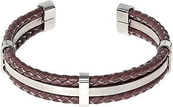Lavari Jewelers Stainless Steel and Brown Genuine Leather Bangle Bracelet