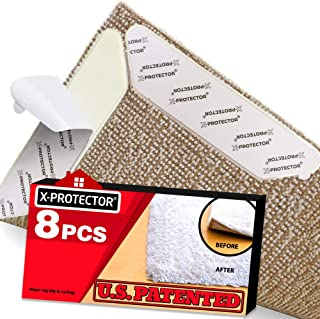 Rug Grippers X-PROTECTOR – Best 8 pcs Anti Curling Rug Gripper. Keeps Your Rug in Place..