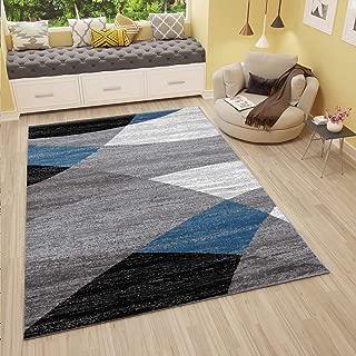 VIMODA Alfombra Moderna de diseño con Dibujo geométrico, Jaspeada, en Gris, Blanco, Negro y Azul - Material Certificado según ÖKO Tex, Maße:120 x 170 cm